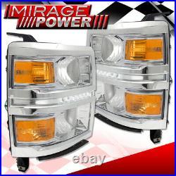 For 14-16 Chevy Silverado Chrome Headlamp Amber Corner Signal LED Daytime Light