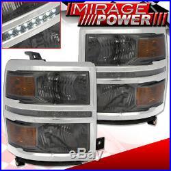 For 14-16 Chevy Silverado Smoke Headlamp Amber Corner Signal Led Day Time Light