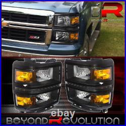 For 14-16 Silverado Black LED Headlights Lamps Amber Reflector Corner Signal