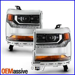 For 16-19 Silverado 1500 HID/Xenon Projector Chrome Headlight withLED Parking Pair