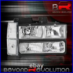 For 1988-1993 Silverado Suburban Chrome Clear Head Lamps + Bumper Corner Lights