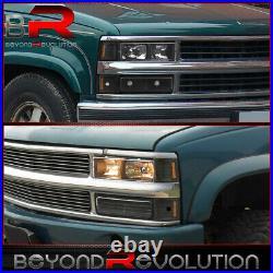 For 1994-1998 Silverado Suburban Black Amber Head Lamps + Bumper Corner Lights