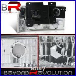 For 1994-1998 Silverado Suburban Chrome Amber Head Lamps + Bumper Corner Lights
