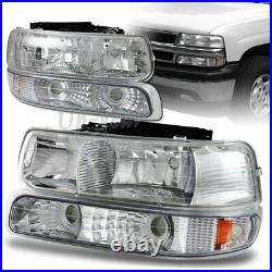 For 1999-2002 Chevy Silverado 2 Piece Chrome Housing Headlights + Bumper Lamps