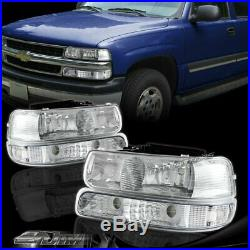 For 1999-2002 Chevy Silverado Chrome Headlights + Bumper Clear Reflector Lamps