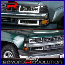 For 1999-2002 Silverado LED DRL Amber Reflectors Black Headlamps Bumper Lights