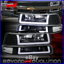 For 1999-2002 Silverado LED DRL Clear Reflectors Black Headlamps Bumper Lights