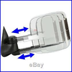 For 1999-2002 Silverado Sierra Pair Power+led Turn Signal Chrome Towing Mirror