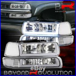 For 1999-2002 Silverado Suburban Led Drl Clear Reflector Headlamps Bumper Lights