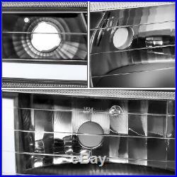 For 1999-2002 Silverrado Suburban Led Drl+turn Signal Black Bumper Headlight