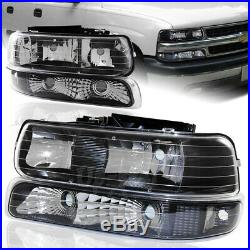 For 2000-2006 Chevy Suburban Black Housing Clear Lens Headlights + Bumper Lamps
