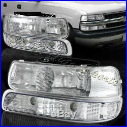 For 2000-2006 Chevy Tahoe 2 Piece Chrome Housing Headlights + Bumper Lamps Combo