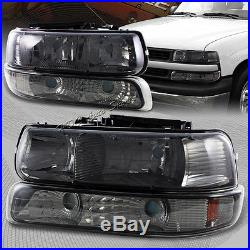 For 2000-2006 Chevy Tahoe 2 Piece Smoke Housing Headlights + Bumper Lamps Combo