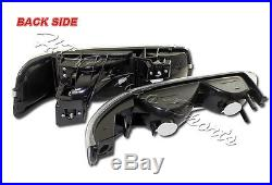 For 2000-2006 Chevy Tahoe Black Housing Headlights+Bumper Clear Reflector Lamps