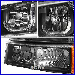 For 2003-2007 Chevy Silverado Led Drl Headlight Turn Signal Bumper Lamp Black