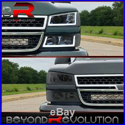 For 2003-2007 Silverado Led Drl Clear Reflectors Smoked Headlamps Bumper Lights