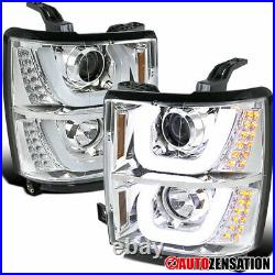 For 2014-2015 Chevy Silverado 1500 LED Bar Clear Projector Headlights Lamps