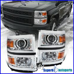 For 2014-2015 Chevy Silverado 1500 Projector Headlights Turn Signal Lamps Pair