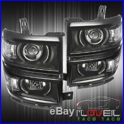 For 2014 2015 Chevy Silverado Black Clear Projector Led Drl Headlights Lh+Rh Set