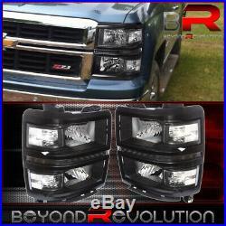For 2014-2015 Silverado 1500 Black LED Headlights Lamps Clear Corner Turn Signal