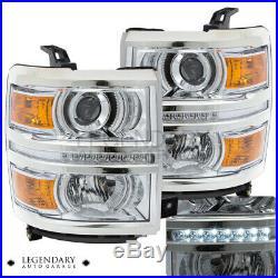 For 2014-2015 Silverado Chrome Housing Amber Turn Signal LED Projector Headlamp