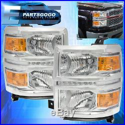 For 2014-2016 Chevy Silverado Front Driving Headlight Amber Reflector Led Chrome