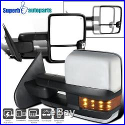For 2014-2016 Sierra Power Heated Temp Senor Tow Mirrors+Amber LED Turn Signal