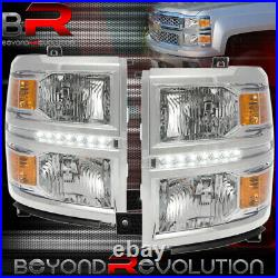 For 2014-2016 Silverado Headlights LED DRL Lamps Chrome Amber Corner Assembly