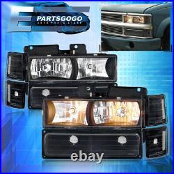 For 88-93 Silverado Blazer Suburban Blk Clear Headlights +Bumper Corner Lamp Set