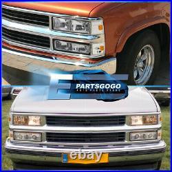 For 88-93 Silverado Blazer Suburban Chrome Headlights Pair + Bumper Corner Lamps