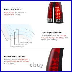 For 88-98 Chevy GMC C10 C/K Suburban Tahoe Yukon LED Red Lens Brake Tail Light