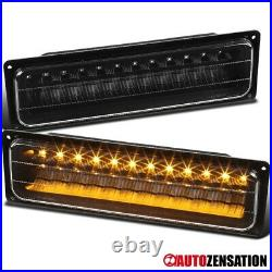 For 88-98 Chevy Silverado GMC Sierra C10 Black LED Bumper Lights Parking Lamps