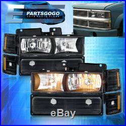 For 94-98 C10 C/K Silverado Suburban Headlights + Bumper Amber Signal Lamps Blk