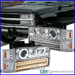 For 94-98 C10 Silverado Clear Lens Projector Headlights+LED Bumper+Corner Lamps