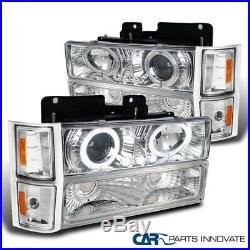 For 94-98 Chevy C10 C/K Tahoe Chrome Projector Headlights with Bumper Corner Lamps