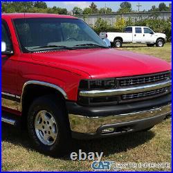 For 99-02 Chevy Silverado Black Smoke LED Bar Headlights+Bumper Lamps Left+Right