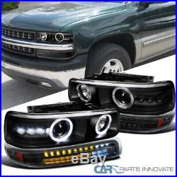 For 99-02 Silverado 00-06 Suburban Black Projector Headlights+LED Bumper Lamps
