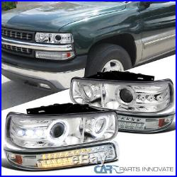 For 99-02 Silverado 00-06 Suburban Clear Projector Headlights+LED Bumper Lamps