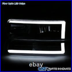For 99-02 Silverado 00-06 Suburban Matte Black LED Bar Headlights+Bumper Lamps