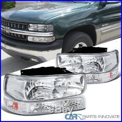 For 99-02 Silverado 00-06 Suburban Tahoe Clear Headlights+Bumper Signal Lamps