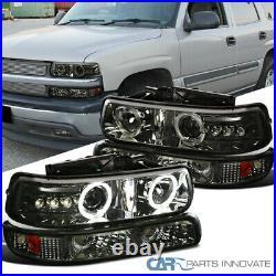 For 99-02 Silverado 00-06 Tahoe Smoke LED Halo Projector Headlights+Bumper Lamps