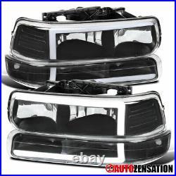 For 99-02 Silverado 00-06 Tahoe Suburban Black Headlights with LED+Bumper Lamps