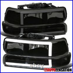 For 99-02 Silverado 00-06 Tahoe Suburban Black Smoke Headlights with LED+Bumper