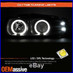 For 99-02 Silverado & Suburban Tahoe LED Halo Headlights & Bumper Lamps Smoke