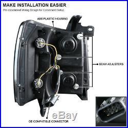 For Black 2007-2014 Chevy Silverado LED U-Halo Projector Headlights Left+Right