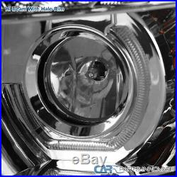 For Chevy 07-14 Silverado LED U Ring Halo Clear Projector Headlights Left+Right