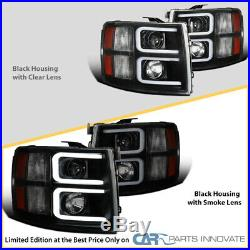 For Chevy 07-14 Silverado Pickup Black Smoke LED Tube Projector Headlights Pair
