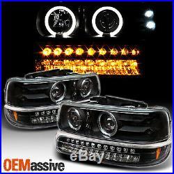 For Chevy Silverado Suburban Tahoe LED Halo Headlights & Bumper Lamp -Black