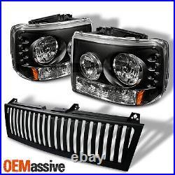 For Silverado Suburban Tahoe LED Headlights WithBumper+ Vertical Black Grill