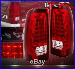 Full Red Lens Led Style Replacement Tail Lights For 1999-2002 Gmc Sierra Truck